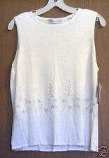 Women's L large knit vest top Valerie Stevens $50 NWT embroidered