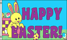 HAPPY EASTER FLAG 5' x 3' Easter Sunday Bunny Rabbit Egg Hunt Party