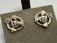 Clogau Silver & Rose Welsh Gold White Topaz Origin Stud Earrings RRP £129.00