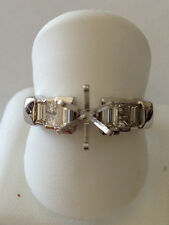 Diamond engagement Ring semi mount  Baguette princess cut invisible set VS G .64