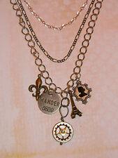 Steampunk Gears Necklace Cameo Eiffel Tower Wander Fleur de lis Vintage Paris