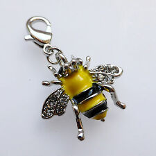 Bee Charm Black Yellow Enamel Silver Plated CZ Clip On For Bracelet