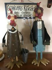 VINTAGE Tall Metal/Wood/Resin Country Mr. and Mrs. Rooster
