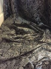 "3 MTR NEW PAISLEY BLACK/SILVER METALLIC BROCADE JACQUARD FABRIC 58"" WIDE £17.99"