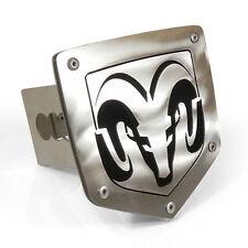 "Dodge RAM Logo Chrome Finish Steel Metal 2"" Tow Hitch Cover Plug Laser Cut"