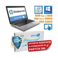 """NOTEBOOK HP ELITEBOOK 840 G1 I5 4300U 14"""" TOUCH SCREEN WINDOWS 10 PER P.IVA."""