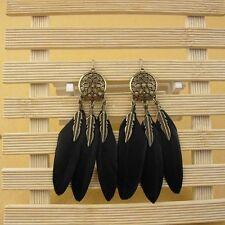 Long Vintage Dream Catcher Ear Drop Bohemian Style Feather Earring