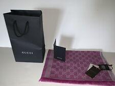GUCCI GG Italy Signature Web Wool Silk XL Pink Scarf