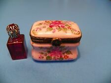 TRUNK PINK - RED PERFUME  authentic FRENCH LIMOGES BOX (  NEW  )
