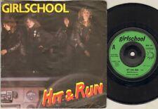 """GIRLSCHOOL Hit & Run 7"""" Ps, B/W Tonight, Bro 118 (Ex-/Ex)"""
