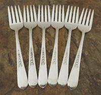 IS Priscilla Lady Ann Set of 6 Salad Forks Wm Rogers Silverplate Flatware Lot A