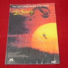 Vintage Original Sheet Music Two Less Lonely People in the World Air Supply 1980