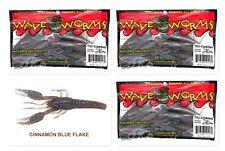 "(3) Unopened Packs Wave Pack Plastics 4.5"" Tiki-Crawdude Cinnamon Blue Flake New"