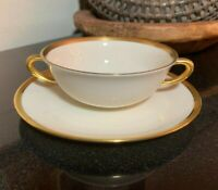 Lenox Tuxedo Gold Trim Cream Soup Bowl with Underplate USA Excellent - 14 Avail.