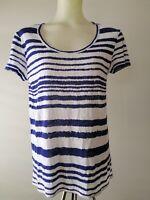 Witchery, Women's Size XS Blue & White Stripe 100% Linen Top Shirt GUC
