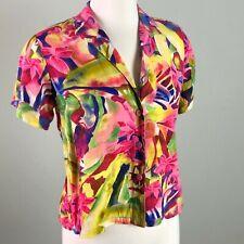 Vintage Jams World Hawaiian Shirt Aloha Abstract Bright Print Top Size XS