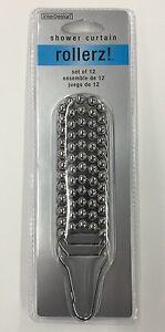 InterDesign Steel Roller Shower Curtain Rings/Hooks Chrome Set of 12 (NEW)