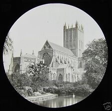 Glass Magic Lantern Slide WELLS CATHEDRAL FROM THE SWAN POOL C1910 ENGLAND L90