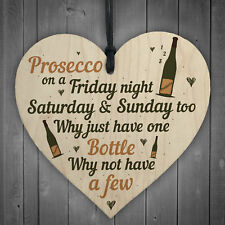 Friday Night Prosecco Wooden Heart Funny Drinking Bar Plaques Birthday Home Gift