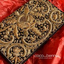 *Vintage 40's/50's Silver Gold Thread Silk Black Velvet CLUTCH Indian