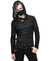 Devil Fashion Mens Dieselpunk Hooded Top Black Apocalyptic Gothic Punk Hoodie