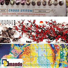 "New Stamped Cross Stitch Kit ""Red Plum Tree"" 14""x43.5"" printed design"