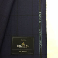 SCABAL Navy with Black Window Pane Check Luxury Wool Suit Fabric 260g -703689
