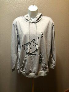 Women's Hoodie Cat Sweatshirt Print Hooded With Ears Fits like Medium/Large