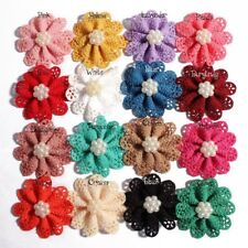 120pcs 5.5cm Mini Hollow Out Flowers With Pearl Fabric Flowers