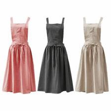 Retro Style Women Bib Apron Pinafore Dress Home Kitchen Cooking Cotton Linen