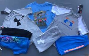 BOY'S SIZE SMALL (7/8) UNDER ARMOUR/HURLEY OUTFITS/SHORTS/SWIM LOT NWT