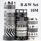 Black and White Set Washi Tape Scrapbooking Masking Tape Adhesive Scotch Tape10m