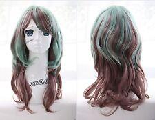 W-24 marron vert Brown Green Mix 53cm attirer Harajuku lolita cosplay perruque wig