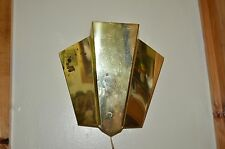 art deco wall scounce in brass-lg. light lamp-vintage theater style