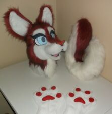 Ruby Husky Fursuit Partial Animal Costume Mascot Head, Hand Paws, And Tail!