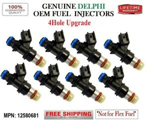 NEW 8 Fuel Injectors UPGRADE 4hole OEM DELPHI for Chevy GMC Buick 4.8-5.3-6-6.2L