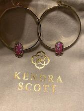 Kendra Scott Elora Pink Fuschia Kyocera Opal Gold tone Earrings