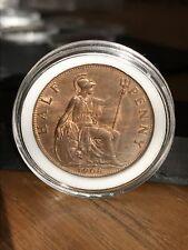 More details for edward v11 1908 halfpenny mint unc