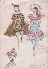 FASHION 1950's DRESS DESIGNS Watercolour Painting c1950