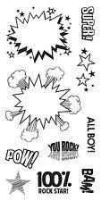 "Fiskars Clear Stamps 4"" x 8"" - KAPOW! - Comic Fighting, Pow, Superheroes"
