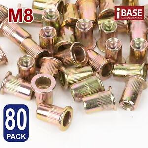 80x Rivet Nut Nuts M8 Flange Blind Nutserts Zinc Plated Steel Rivnut Nutsert