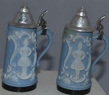 Vintage Salt Pepper Shakers Blue Stein Plastic