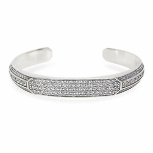 "Heirloom Men's Cuff Bracelet White Round Cut Diamonds in 925 Sterling Silver 8"""