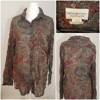 Ralph Lauren Vintage Womens Multicoloured Long Sleeve Shirt Blouse Top Paisley L