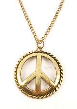 Vintage Bronze Hippie Boho Peace Sign Symbol Costume Jewellery Necklace Gift Bag
