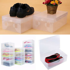 5Pcs Home Clear Plastic Shoe Boot Box Stackable Foldable Storage Bag Organizer