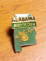 Vintage State ALabama Shape Lapel Pin AL Travel Souvenirs Heart of Dixie Hat Tie