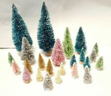 24 Ultimate Snow Village Mix Mini Miniature Sisal Bottle Brush Christmas Trees