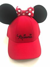 Disney Minnie Mouse Polka Dot Baseball with Ears, Red Womens Hat Cap