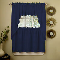 Navy Solid Opaque Ribcord Kitchen Curtains - Choice of Tiers Valance or Swag